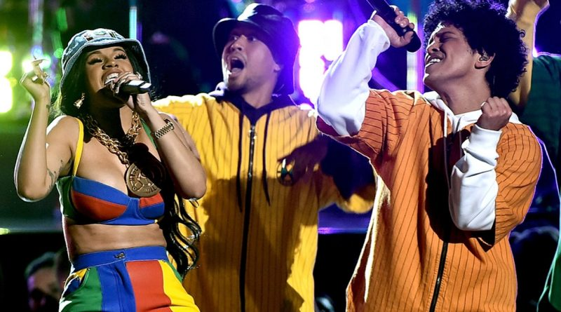 Cardi B and Bruno Mars perform onstage during the 60th Annual Grammy Awards at Madison Square Garden on Jan. 28 in New York City.Theo Wargo/WireImage