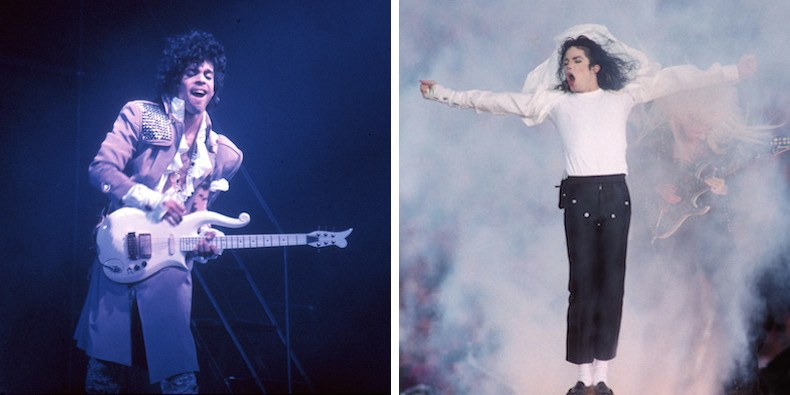 Prince (photo by Michael Ochs Archives/Getty Images); Michael Jackson (photo by Steve Granitz/WireImage/Getty)