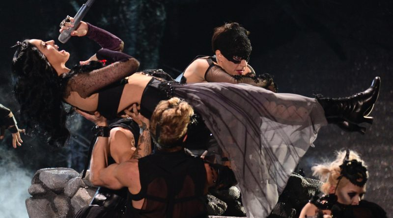 """Katy Perry's Spinal Tap–worthy performance of """"Dark Horse"""" on last week's Grammys. Photo by FREDERIC J. BROWN/AFP/Getty Images"""