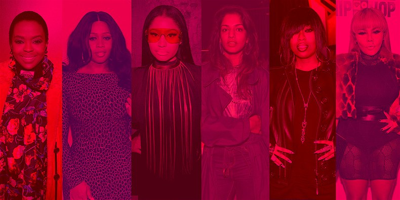 From left to right: Lauryn Hill, Remy Ma, Nicki Minaj, M.I.A., Missy Elliott, and Lil' Kim. (All photos via Getty)