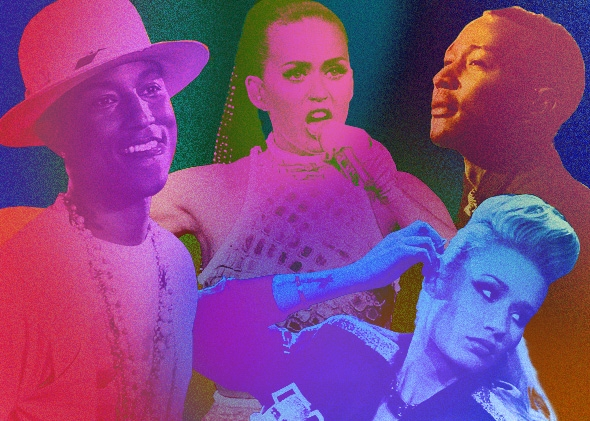 Pharrell, Katy Perry, Iggy Azalea, and John Legend had the four biggest songs of 2014, according to Billboard.