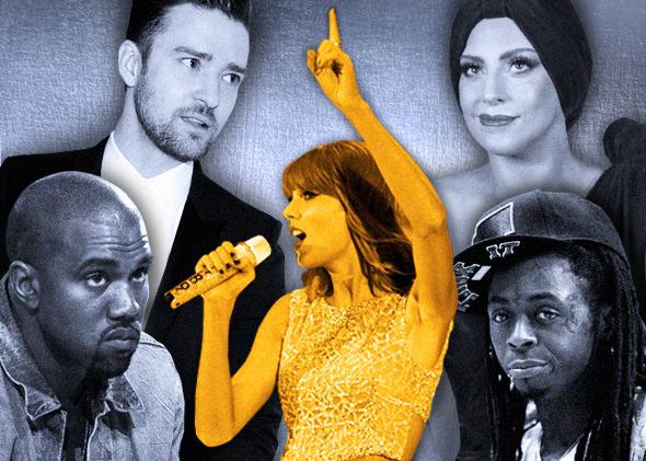 One Taylor Swift to rule them all: Kanye West, Justin Timberlake, Lady Gaga, and Lil Wayne. Photo illustration by Ellie Skrzat. Photos by Carlo Allegri/Files/Reuters, David Becker/Getty Images, Frazer Harrison/Getty Images for CBS Radio Inc., Mark Renders/Getty Images, Andrew Innerarity/Reuters, and POMACHKA/Thinkstock