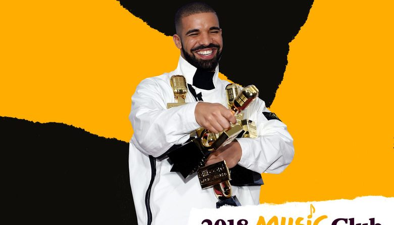 Drake with awards. Photo illustration by Slate. Photo by David Becker/Getty Images.