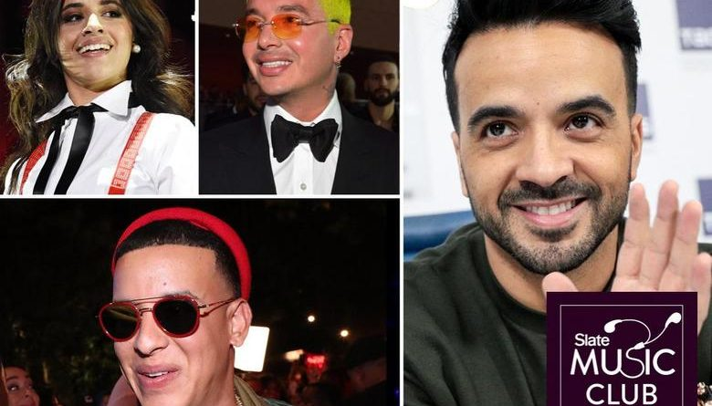 Clockwise from top left: Camila Cabello, J Balvin, Luis Fonsi, and Daddy Yankee. Chris McKay/WireImage; Lester Cohen/Getty Images for LARAS; Sergei Bobylev/TASS via Getty Images; Johnny Nunez/WireImage